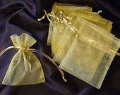 10 Gold Organza Bags 3 x 4 drawstring jewelry pouches
