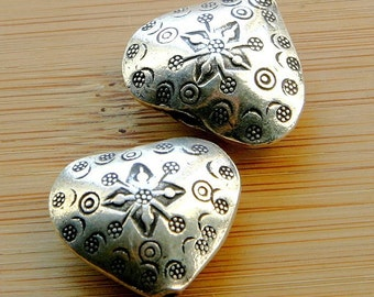 Silver Heart (1), Large Heart, Bead, Jewelry-making Supplies, Hilltribe Silver, Hill Tribe Silver