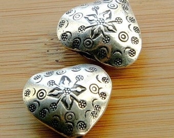 Large Stamped Hilltribe Silver Hearts (2)