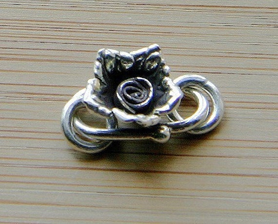 Silver Clasp -Hilltribe Silver Rose Flower S-Clasp