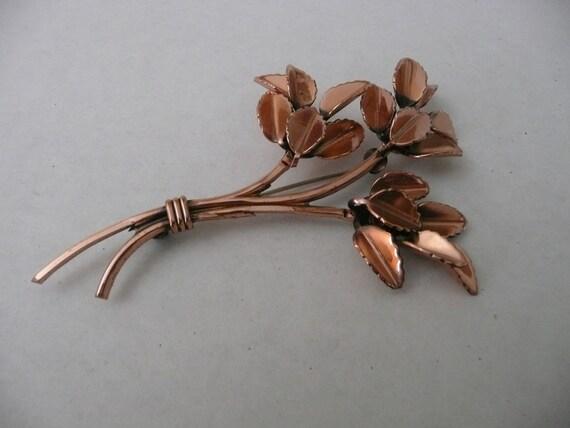 RENOIR Copper leaf brooch retro vintage designer pin