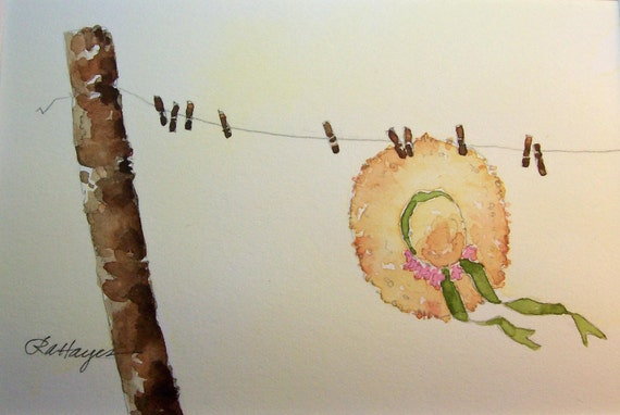 Sunbonnet on Country Clothesline Watercolor Painting
