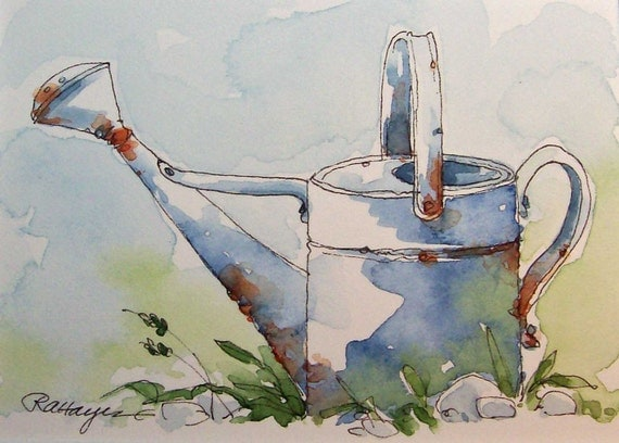 Old Metal Watering Can Watercolor Painting Aceo