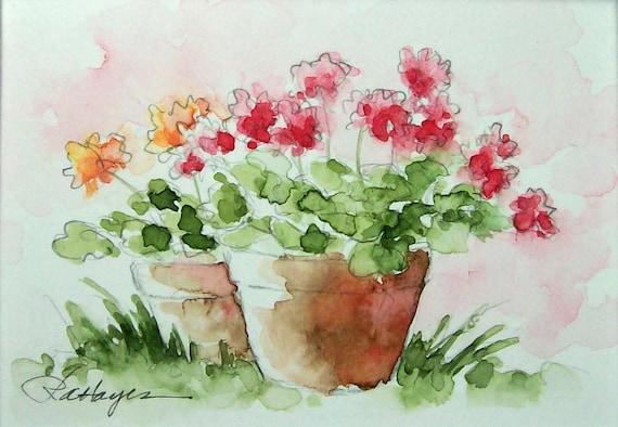Geraniums In Terra Cotta Flower Pots Watercolor Painting