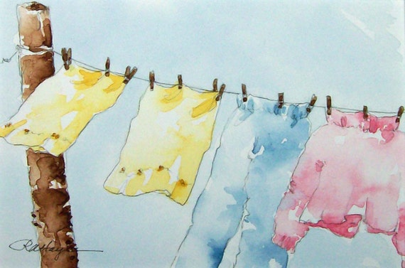 Country Clothesline Original Watercolor Painting