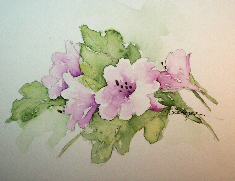Morning Glory Floral Watercolor Painting Original