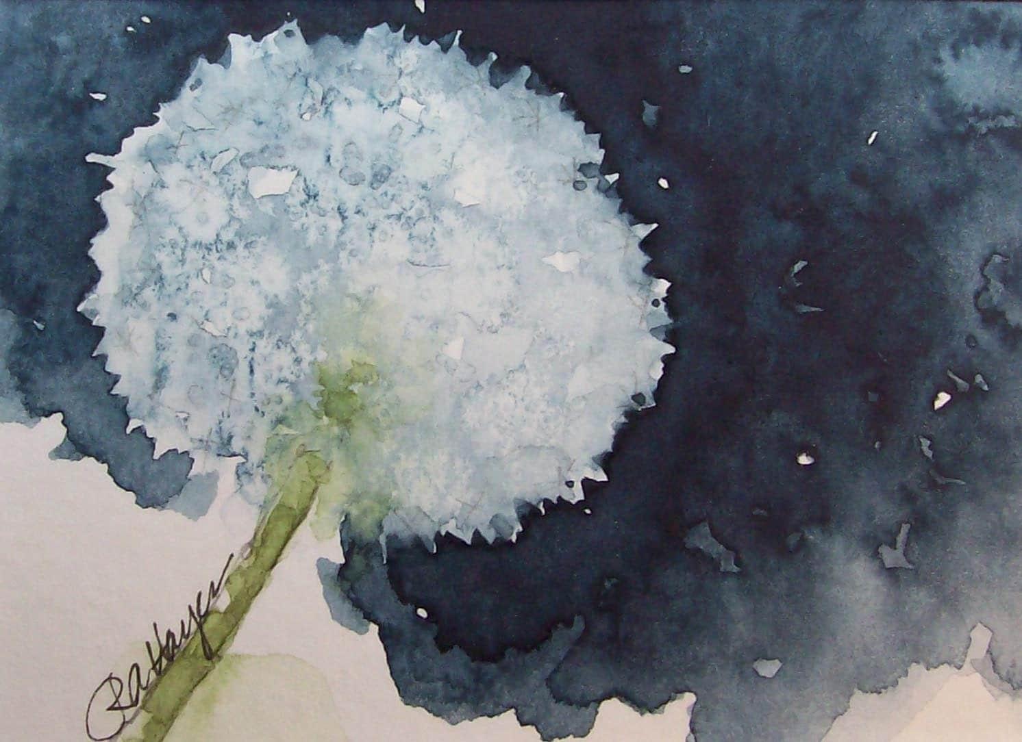 Dandelion Original Watercolor Painting Aceo