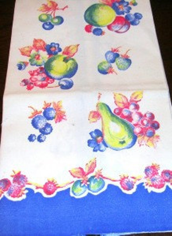 "Vintage Fruit Towel Blue Border with Loads of Vintage Fruit 15"" X 29"""