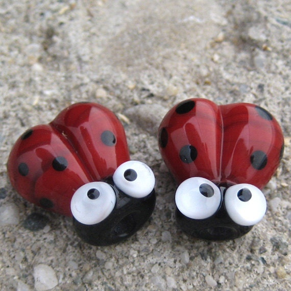 Red Handmade Lampwork Glass Ladybug Beads SRA pcj DD - made in USA
