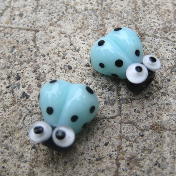 Blue Handmade Lampwork Glass Ladybug Beads SRA PCJ L - Made in USA