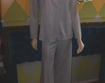 Vintage 70s Outfit, Retro, Wide Leg Pants and Top, Silver