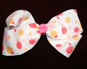 Darling Dots Pink and Orange Boutique Bow Barrette