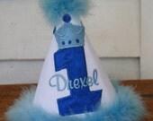 Personalized Little Prince-themed 1st Birthday Hat - Blue & White - Party - Celebration - Cake Smash - Royal - Photo Shoot