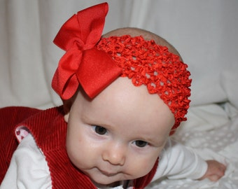 Happy Holidays Headband with Bow - Red - Christmas - Crocheted - Baby Girls - Party - Celebration - Santa Photos - Photo Shoot - Gift