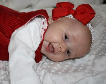 Happy Holidays Headband with Bow - Red - Christmas - Crocheted - Baby Girls - Party - Celebration - Valentines Day - Photo Shoot - Gift