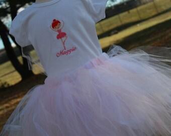 TLB Custom Designed Pink Little Ballerina Tutu and Personalized T shirt set