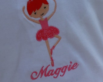 Personalized Pink Ballerina Bodysuit or T-shirt - Girls - Birthday - Gift - Party - Celebration - Theme - Cake Smash
