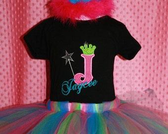 Personalized Princess Rainbow Birthday Set - Party Hat, T-shirt & Tutu - Initial - Celebration - Party Decor - Crown - Tiara