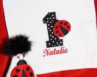 TLB Custom Boutique Little Love Bug Ladybug princess Hat and Bib  Personalized Birthday Party Hat