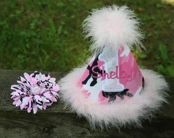 """Personalized """"Camo Cutie"""" Party Hat - 1st Birthday - Hunting - Outdoors - Army - Girls - Cake Smash - Theme - Tom Boy"""