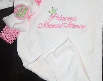 TLB Custom Designed Pink Little Princess Personalized Newborn Gown T shirt and headband set