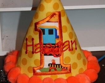 TLB Construction Site Custom Boutique Birthday Hat Boy or Girl Birthday