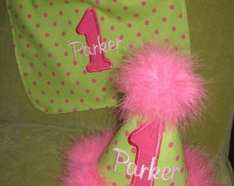 TLB Custom Boutique Personalized  Princess Polka Dot Birthday Party Hat and Bib Set Boy Girl