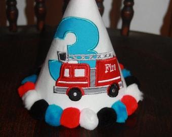 Personalized Firetruck fire truck Party Hat - Boys - Firefighter - Custom - Theme - Cake Smash - Celebration - Photo Shoot