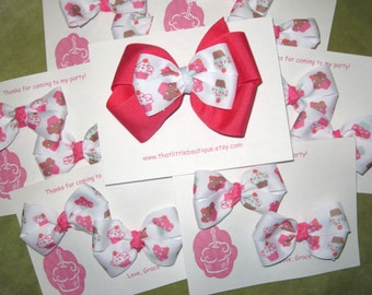 Cupcake Cutie Party Favors Boutique Bows with Custom Thank You Bow Cards