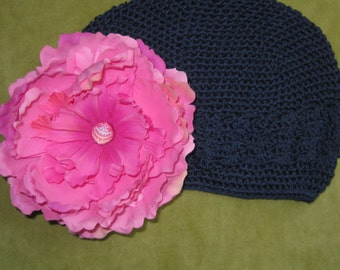 Boutique Crochet Beanie Hat with Pink Peony Flower 2 Pieces for 1 Price