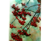 Winter Berries Art glass cutting board, red berries glass, berries cutting board, rowan berries art, Rowan berries glass