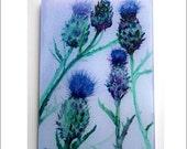 Thistles of Scotland   Heat proof  Glass cutting board. thistles trivet, thistles glass, thistles art, Scots thitles, artichoke flowers