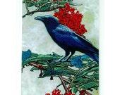 Crow or Raven Glass cutting board, crow trivet, raven trivet, crow and berries glass, crow art, raven art glass,bird gift, crow gift