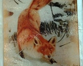 Fox glass cutting board, fox gift, fox trivet, fox sushi plate, fox christmas gift, fox art gift,