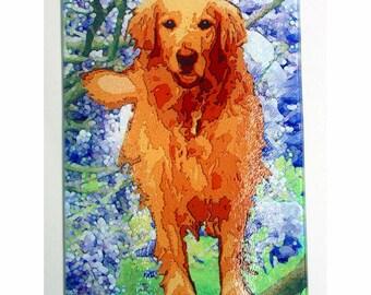 Golden Retriever Glass Cutting board, Golden retriever gift, golden trivet, pet gift, dog gift, golden cheese plate