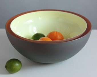 Winter Sunrise, Hand Blown Glass Bowl in Gray, Pale Yellow and Orange