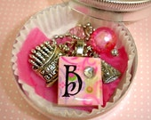 Personalized Charm Necklace - Birthday Girl Jewelry - Scrabble Initial Party Favor Birthday Cake Charm