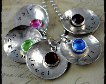 Hand Stamped Personalized Necklace Birthstone Cups 6 Disc Jewelry for Mom Grandma