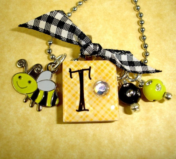 honey bee bonbon personalized initial charm necklace for