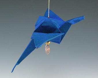 Handmade Dragon Blue Silk Fabric Origami Sculpture Ornament  SRA