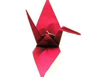 Handmade Magenta Silk Fabric Origami Crane Ornament SRA