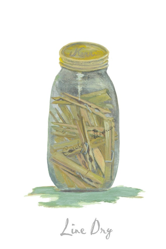 Line Dry - Clothes Pins in a Jar is a laundry room art print  8x10 by Carolyn Altman