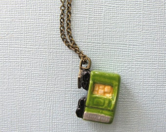 Green Boxcar Train Necklace
