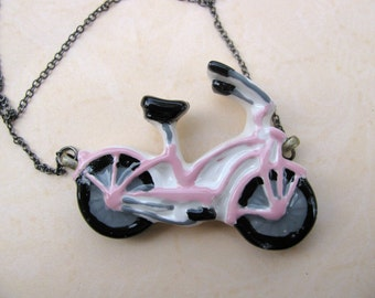 Pink Bicycle Necklace