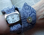 Tie Watch Wrap in ocean blue with Mother of Pearl Button with Rectangle watchface