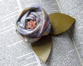 Rosette Flower Necktie Brooch Pin in Blue Yellow Pink Pastel Plaid with repurposed leather leaves