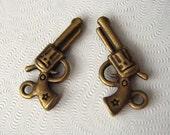 Gun Pistol Charm in Antiqued Brass Plating, 22x11mm, 20pcs, SBC-206