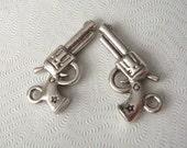Gun Pistol Charm in Antiqued Silver Plating, 22x11mm, 20pcs, SBC-207