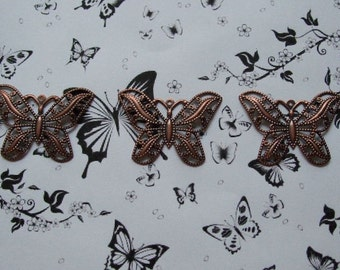 3 x Antique Copper Butterflies