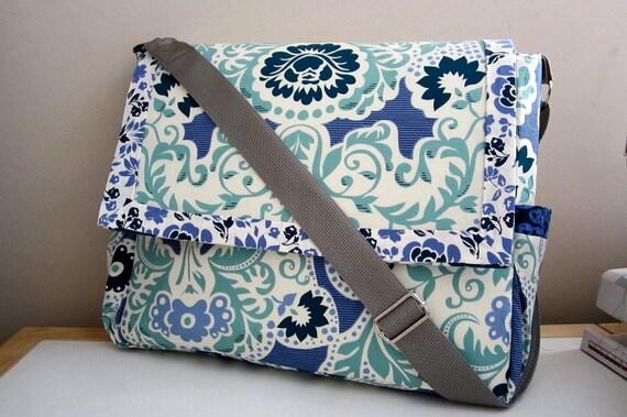 Secret Garden Messenger/Diaper Bag w/S Henderson Midnight Garden fabric Ready to Ship Priority Mail in US